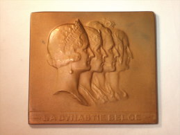 Médaille Bronze. Têtes De Léopold I, Léopold II, Albert I Et Léopold III. Signé G. Devreese. 173g.  78 Mm  X 69 Mm - Royaux / De Noblesse