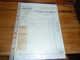 Facture L Pecher D Hilaire 10 Avenue De Paris NIORT Materiaux De Construction Ancienne Maison Genevieve Bonniot - France