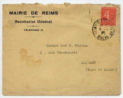 """1923--REIMS-51--lettre Personnalisée""""Mairie De REIMS-Secrétarat Ga  Pour LUISANT-28---Semeuse--Cachet REIMS-DIEU..... - Storia Postale"""