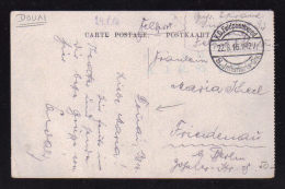 1916 - Carte Origine DOUAI - NORD /  Voir Cachet  De La Feldpost Allemande - Oorlog 1914-18