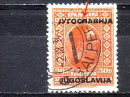 KING ALEXANDER-30 DIN-OVERPRINT-ERROR-POSTMARK-ZAGREB-YUGOSLAVIA-1933 - Geschnitten, Drukprobe Und Abarten