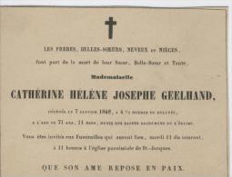 Geelhand Cathérine, Anvers 7 Janvier 1848 - Obituary Notices