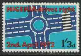 Nigeria 1972 Mi 263 ** Roundabout – Change To Driving On The Right – 2nd April 1972 / Diagramm Für Den Kreisverkehr - Transportmiddelen