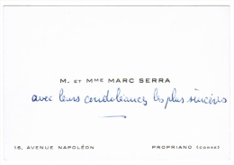 M. ET Mme MARC SERRA 15 AVENUE NAPOLEON PROPRIANO ( CORSE ) - Cartes De Visite