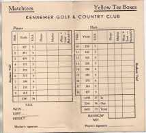 GOLF - KENNEMER GOLF ET COUNTRY CLUB HOLLANDE PAYS BAS  -  CARTON  DE POINT ET REGLES LOCALES - A VOIR - Golf