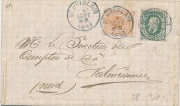 928/20 -- TARIF FRONTALIER 15 C - Lettre TP 28 Et 30 ST GHISLAIN 1883 Vers VALENCIENNES France - 1869-1883 Leopoldo II