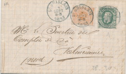 928/20 -- TARIF FRONTALIER 15 C - Lettre TP 28 Et 30 ST GHISLAIN 1883 Vers VALENCIENNES France - 1869-1883 Leopold II.