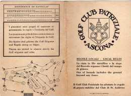 GOLF - GOLF CLUB PATRIZIALE ASCONA SUISSE -  PLAN DU PARCOURS - CARTON DE POINTS, REGLES LOCALES - A VOIR - Golf