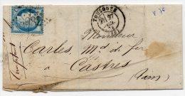 N°60A - VARIETE BARAT/SUARNET N°76 Encoche Montant Intérieur Nord Est, Sur Lettre - 1871-1875 Ceres
