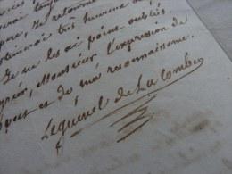 B.-F. LEGUÉVEL DE LA COMBE [?- ?] - Voyageur & Commerçant. - MADAGASCAR (1841) - LAS - Autografi
