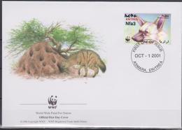 Eritrea, 2001, WWF, Hyena, 4 FDC´s - Cani