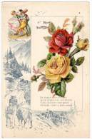 Chromo Grand Format, Paysage Montagnard (vaches), 1er Avril, Ajoutis Fleurs - Chromos