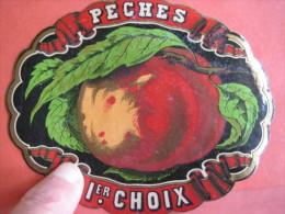 1 ETIQUETTE XIX Ième  - LITHO SUPERBE PARAFINE  -  PECHES 1er CHOIX _  - IMPR.  ROMAIN & PALYART - Etiquettes