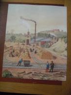 Reportage Papier. Illustration Mines Et Fonderies De Zinc De La Vieille Montagne 1837 - Historical Documents