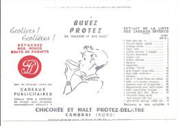 """Buvard ,  Chicorée Et Malt """"Protez-Delatre"""" - Cambrai (59) - Buvards, Protège-cahiers Illustrés"""