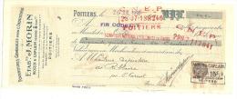 Lettre De Change, Fournitures Générales Pour L'Industrie -Ets J.Morin- Poitiers (86) - 1930 - Lettres De Change