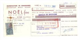 Lettre De Change, Manufacture De Chaussures - Noël Frères - Vitré (35) - 1960 - Lettres De Change