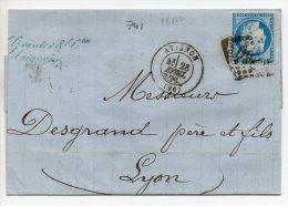 N°60A -VARIETE BARAT/SUARNET N°92 Rectangle Blanc Dans Le Montant Intérieur S-O, Sur Lettre - 1871-1875 Ceres
