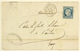 LAC  1872 Limoges --> Castres, Affr. 25c Type Ceres  YT 60A, Tad Gare De Limoges,  Losange GC 2049 - Marcophilie (Lettres)