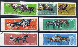 HUNGARY 1961 Equestrian Sports Set Imperforate Used.  Michel 1776-82B - Used Stamps