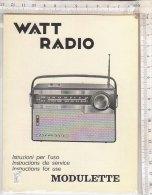PO9188B# ISTRUZIONI RADIO MODULETTE WATT RADIO Anni '60 - Radio & TSF