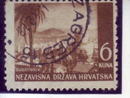 LANDSCAPES-DUBROVNIK-6 K-POSTMARK-ZAGREB-NDH-CROATIA-1942 - Croatia