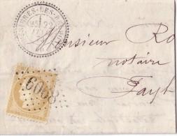 HAUTE MARNE - BUSSIERES-LES-BELMONT LE 22-2-1873 N°59 OBLITERATION GC6068 BUREAU SUPPLEMENTAIRE-GRAND FRAGMENT. - Storia Postale
