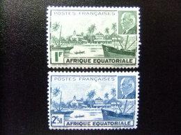 AFRICA EQUATORIAL FRANCESA 1941  VUE DE LIBREVILLE ET MARECHAL PETAIN Yvert Nº 90 /91 ** MNH - Nuevos