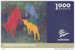 Iceland, ICE-C-02, 1000 Kronur,  Johann Briem´s Painting, 2 Scans. Issued : 03/00 Expiry : 03/02