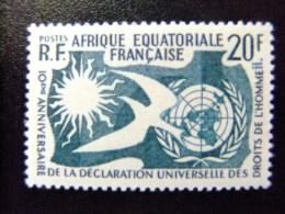 AFRICA EQUATORIAL FRANCESA A.E.F 1958 10 º ANIVERSARIO  DERECHOS Del HOMBRE Yvert 245 ** MNH - A.E.F. (1936-1958)