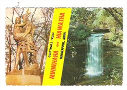 Greetings From Minnehaha & Hiawatha ,Minneapolis, Minnesota USA; Indiens ;falls + Timbre Statue De La Liberté / Liberty; - Minneapolis