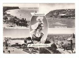 ARROMANCHES ... Souvenir De ... (Calvados) - CPSM - 5 Vues : Plage Et Musée, Falaises, Vue Générale + Coiffe Folklorique - Arromanches