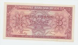 BELGIUM BELGIQUE 5 FRANCS 1943 VF++ P 121 - [ 2] 1831-... : Royaume De Belgique
