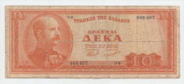 Greece 10 Drachmai 1954 G-VG RARE Banknote P 189a 189 A - Greece