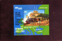1983 -  Centenaire De L Orient Express Mi Bloc 198 Et Yv Bloc 163 MNH - 1948-.... Republiken