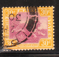 Federated Malay States 1922-32 Tiger 30c Used - Federated Malay States