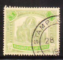 Federated Malay States 1922-32 Elephants $1 Used - Federated Malay States