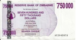 ZIMBABWE 750000 DOLLARS 2007 VF P 52 - Zimbabwe