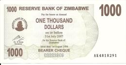 ZIMBABWE 1000 DOLLARS 2006 AUNC P 44 - Zimbabwe