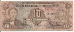 HONDURAS 10 LEMPIRAS 1977 VF P 64a - Honduras
