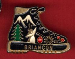 28669-Pin's Briançon.chaussure.alpin Isme.randonnée.chamois.. - Villes