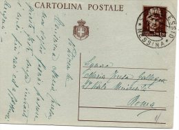 1945  CARTOLINA CON ANNULLO S.ALESSIO  MESSINA - 4. 1944-45 Repubblica Sociale