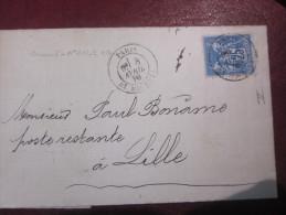 MISSIVE TIMBRE SAGE 25 C - 1878 SUR COURRIER JAPY FRERES &Cie VOIR PHOTOS - 1876-1878 Sage (Type I)