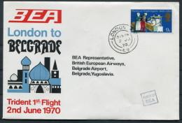 1970 GB London - Belgrade Yugoslavia BEA First Flight Cover - 1952-.... (Elizabeth II)