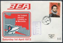 1972 GB London - Marseille France BEA First Flight Cover - 1952-.... (Elizabeth II)