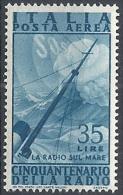 1947 ITALIA POSTA AEREA RADIO 35 LIRE MNH ** - RR11675-2 - Airmail