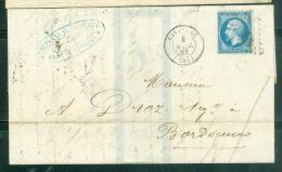 LAC Affranchie Par YVERT N°22 Oblitéré GC  1988 ( Mal Venu )  ( Lavardac Dpt 47 )  En 1863 - Am8802 - Postmark Collection (Covers)