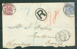 LSC Recommandée Pour La France En 1882 Affranchie Par Yvert N°70 Et N°62 - Am8902 - Briefe U. Dokumente