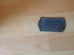 Plaque  G Prospère Construction Marseille M Boyer Successeur - Plaques Publicitaires