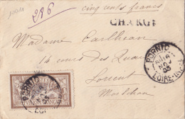 10011# MERSON N° 120 SEUL / LETTRE CHARGE 500 Frs Obl PORNIC LOIRE ATLANTIQUE 1903 DESCRIPTIF Au Dos Pour LORIENT - Postmark Collection (Covers)
